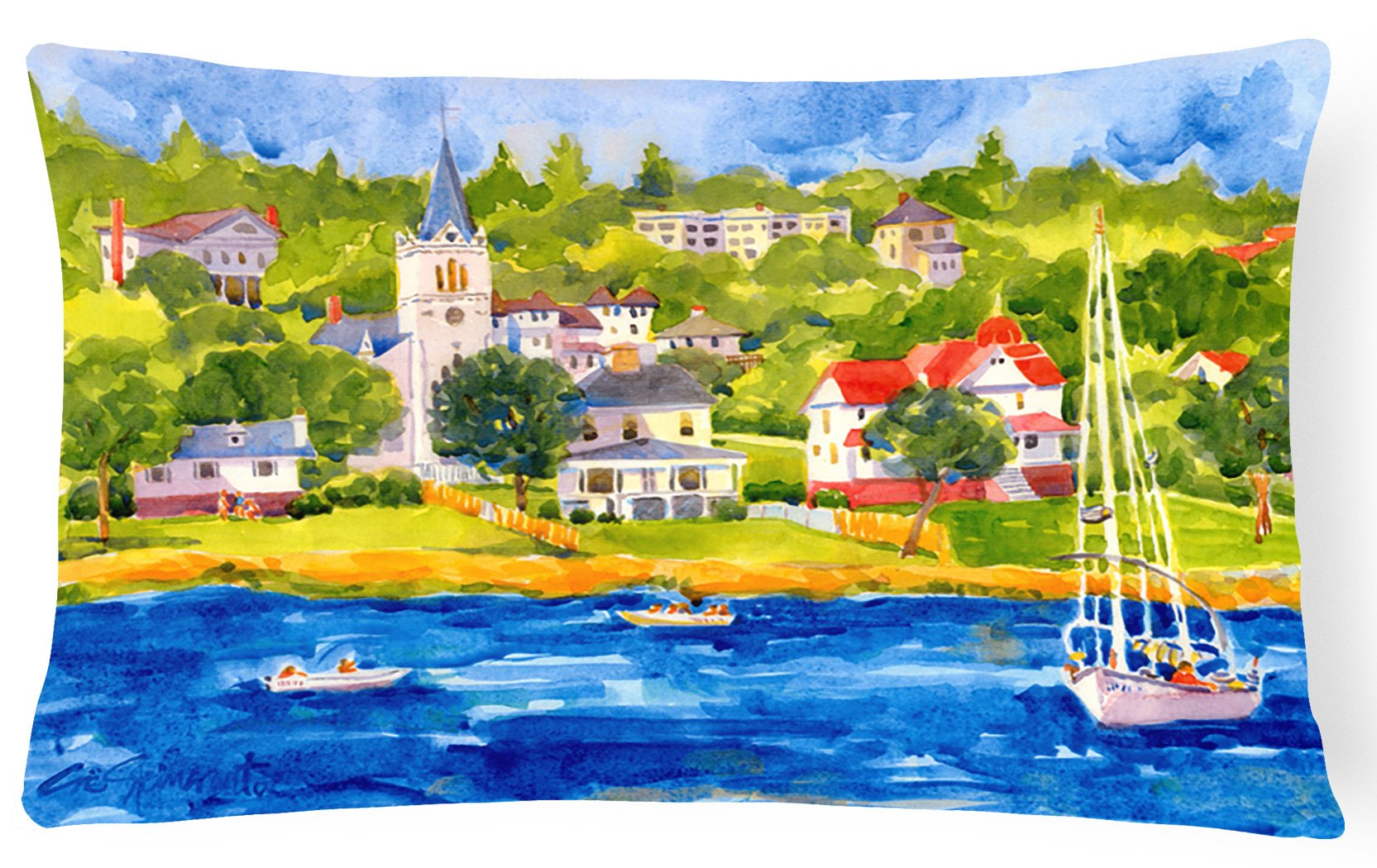 Harbour Scene with Sailboat  Decorative   Canvas Fabric Pillow by Caroline's Treasures