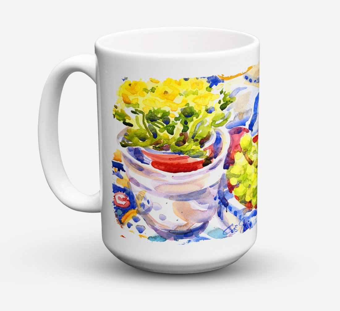 Apples, Plums and Grapes with Flowers Dishwasher Safe Microwavable Ceramic Coffee Mug 15 ounce 6037CM15 by Caroline's Treasures