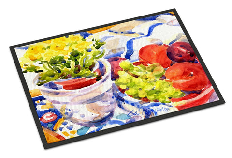 Buy this Apples, Plums and Grapes with Flowers  Indoor or Outdoor Mat 18x27 Doormat