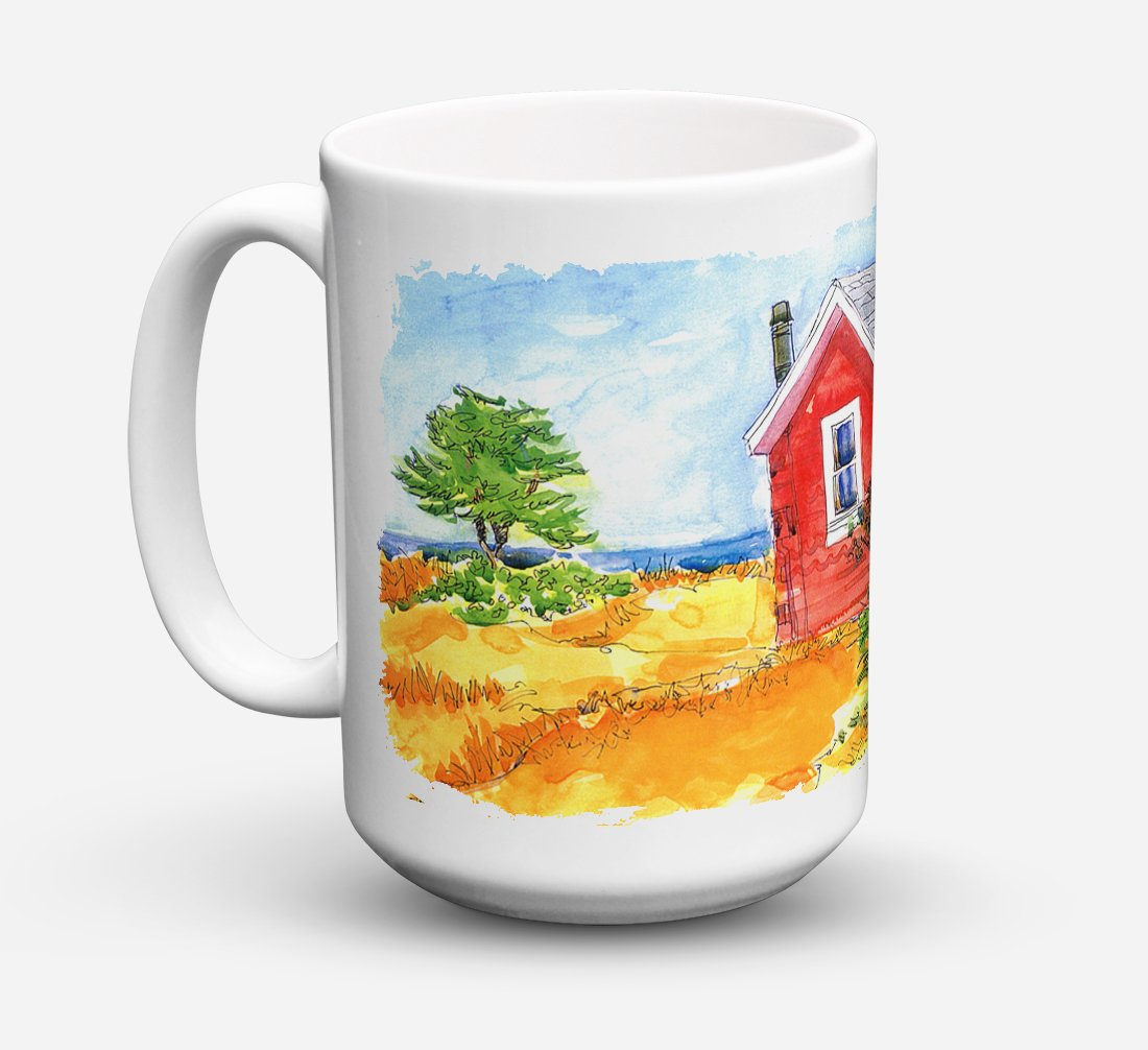 Buy this Old Red Cottage House at the lake or Beach Dishwasher Safe Microwavable Ceramic Coffee Mug 15 ounce 6041CM15