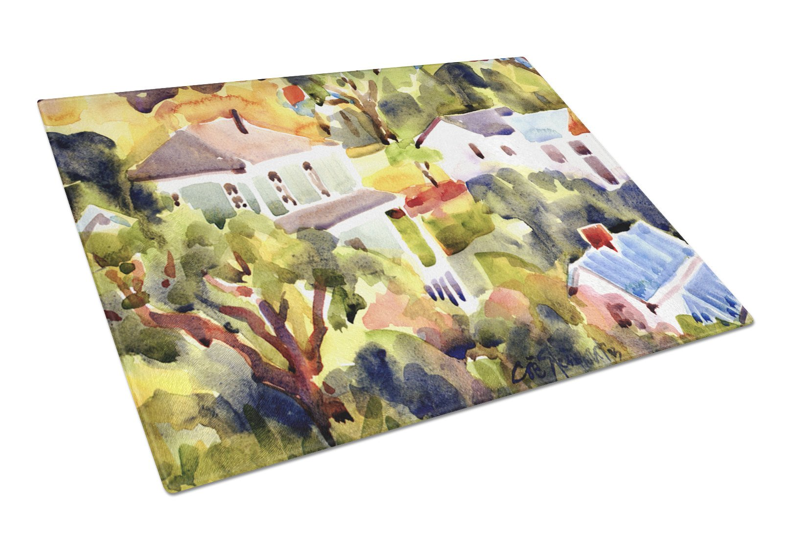 Houses Glass Cutting Board Large by Caroline's Treasures