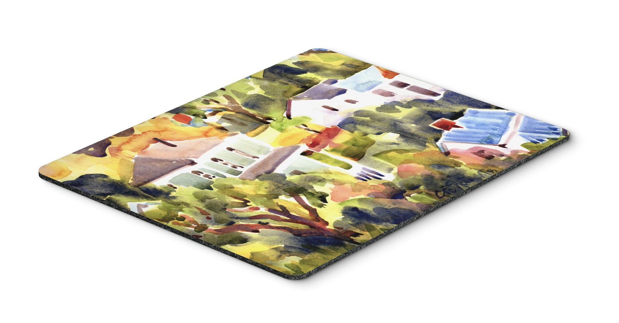 Houses Mouse pad, hot pad, or trivet by Caroline's Treasures