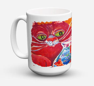 Buy this Big Red Cat at the fishbowl Dishwasher Safe Microwavable Ceramic Coffee Mug 15 ounce 6048CM15
