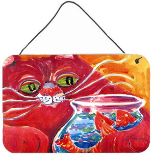 Buy this Big Red Cat at the fishbowl Indoor Aluminium Metal Wall or Door Hanging Prints