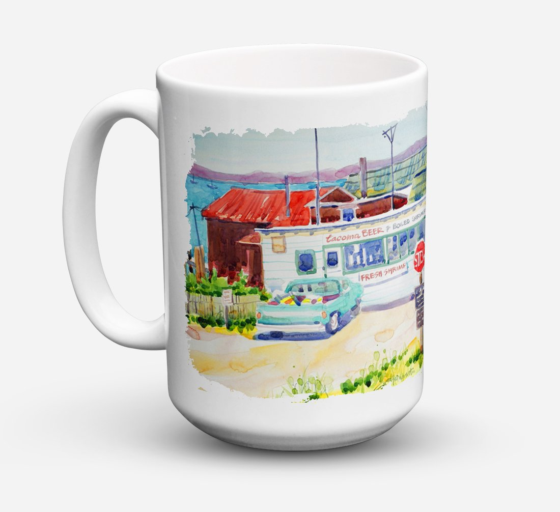 Seafood Shack for fresh shrimp Dishwasher Safe Microwavable Ceramic Coffee Mug 15 ounce 6054CM15 by Caroline's Treasures
