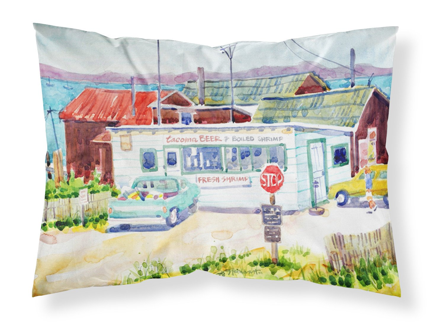 Seafood Shack for fresh shrimp Moisture wicking Fabric standard pillowcase by Caroline's Treasures