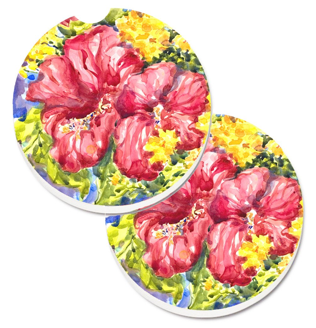 Flower - Hibiscus Set of 2 Cup Holder Car Coasters 6056CARC by Caroline's Treasures