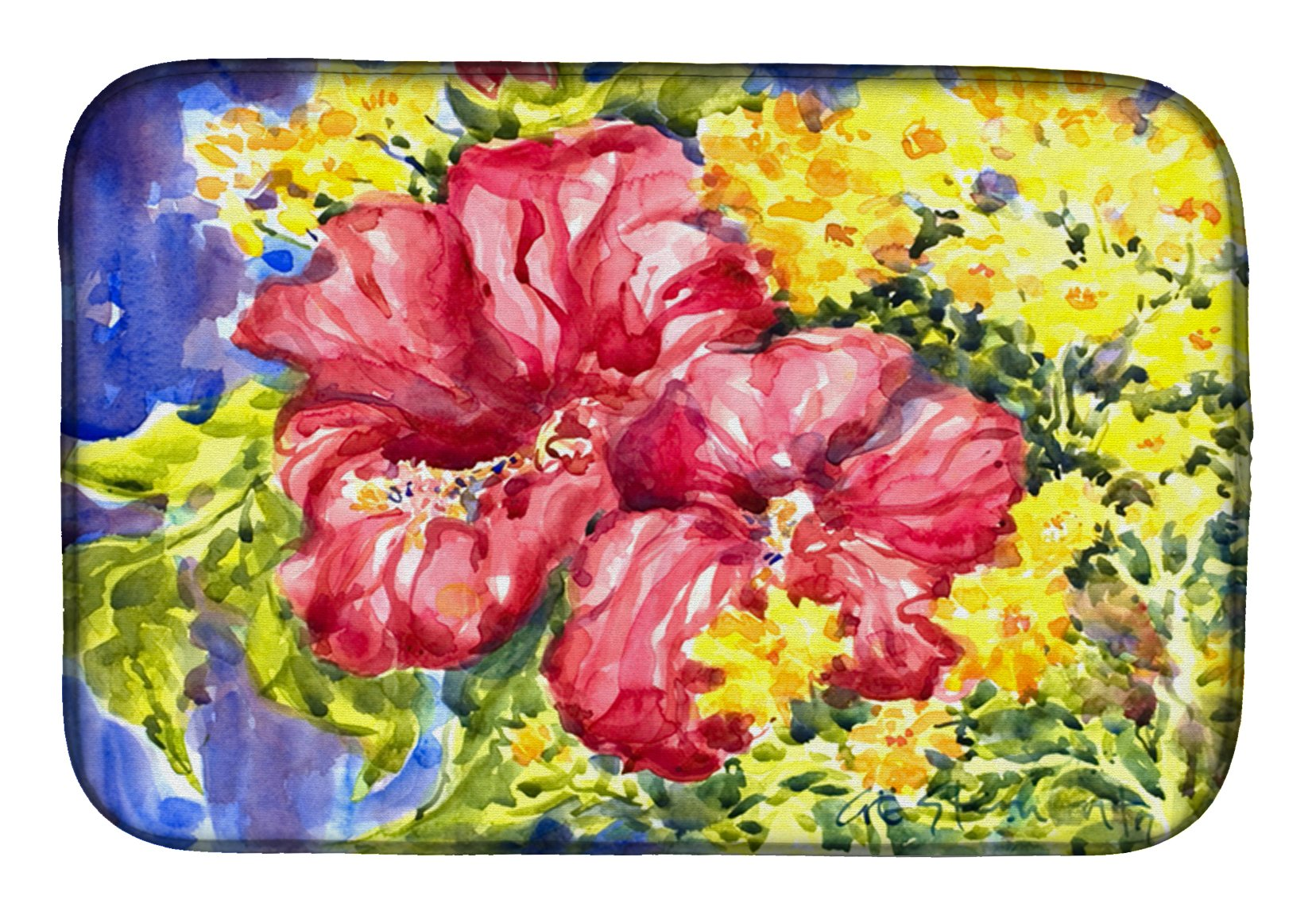 Flower - Hibiscus Dish Drying Mat 6056DDM by Caroline's Treasures