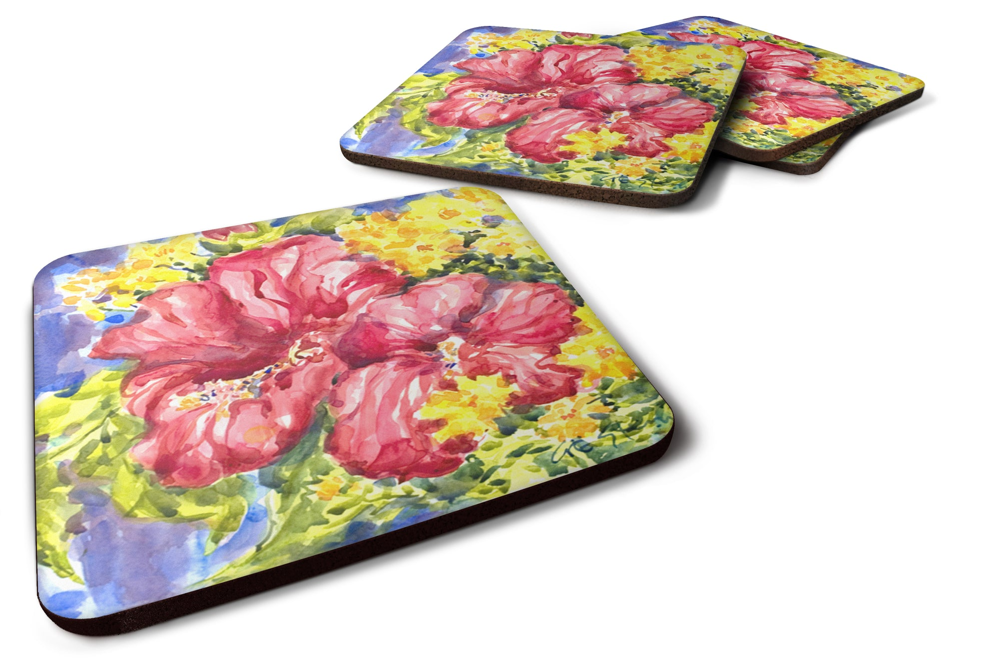 Buy this Set of 4 Flower - Hibiscus Foam Coasters