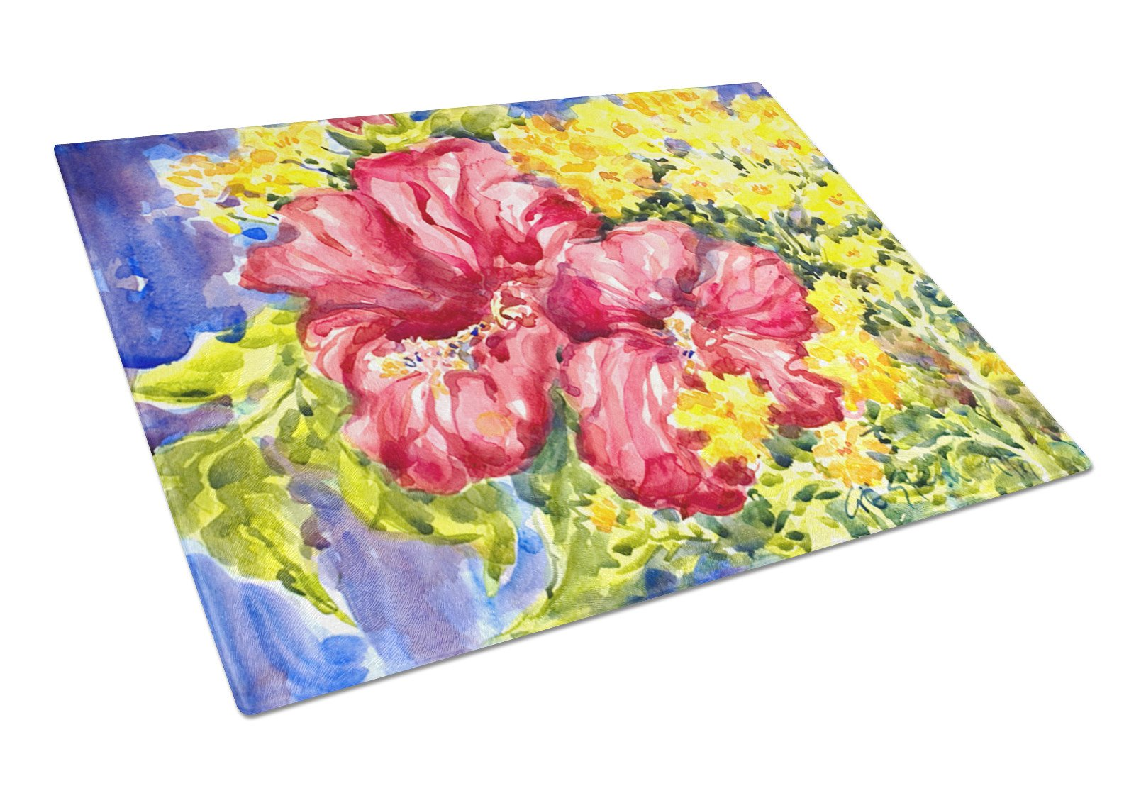 Flower - Hibiscus Glass Cutting Board Large by Caroline's Treasures