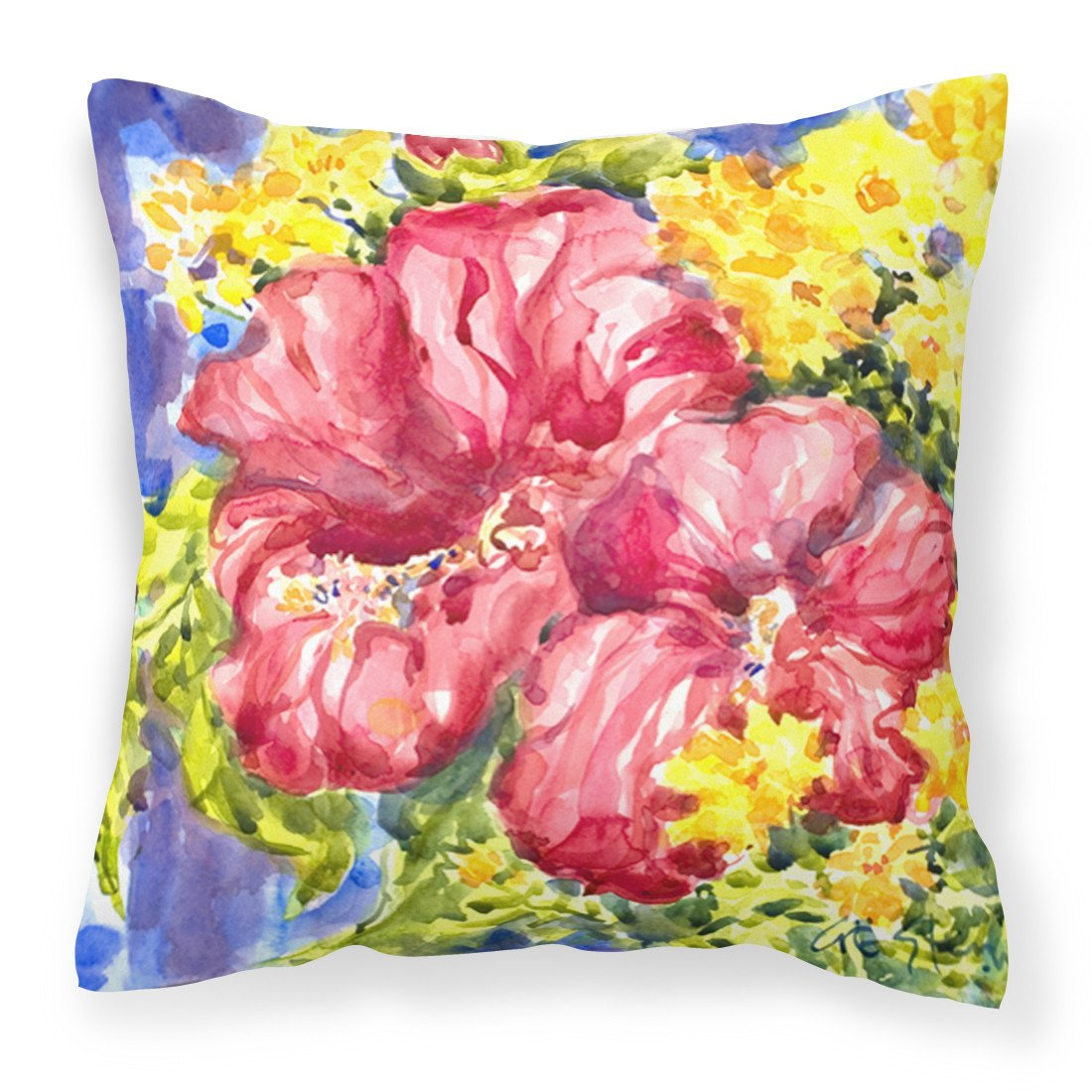 Flower - Hibiscus Decorative   Canvas Fabric Pillow by Caroline's Treasures