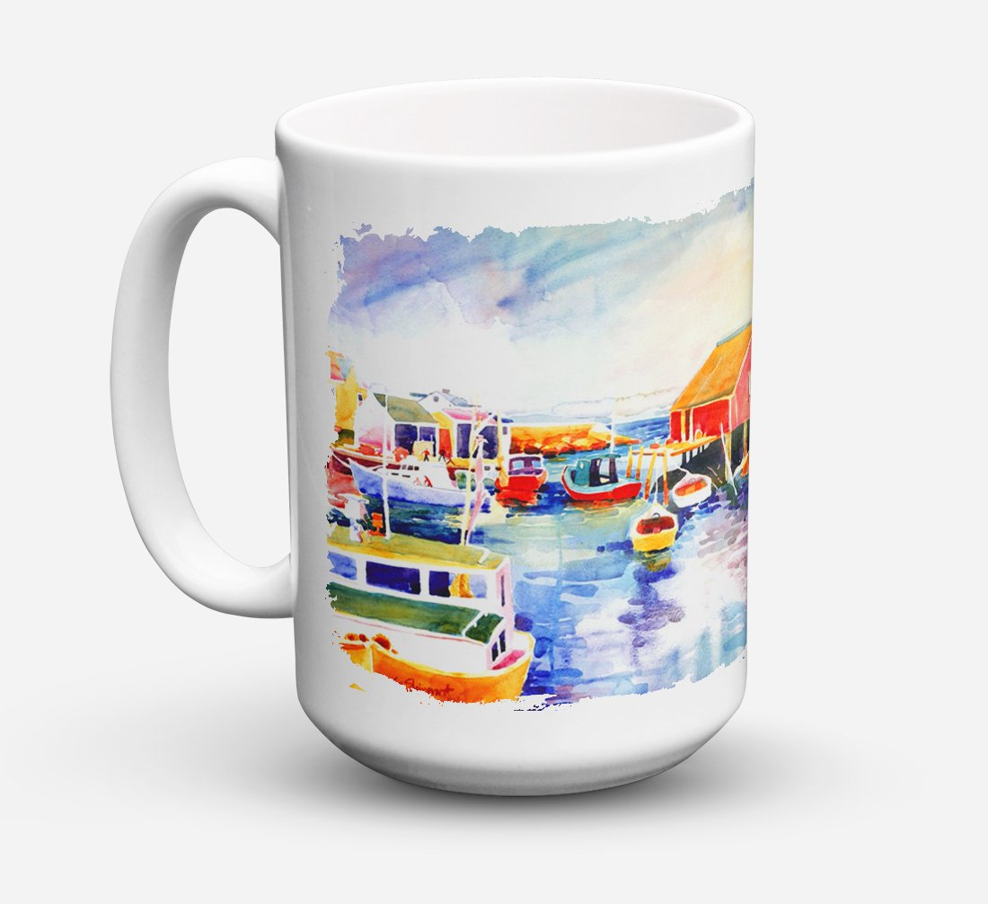 Boats at Harbour with a view Dishwasher Safe Microwavable Ceramic Coffee Mug 15 ounce 6059CM15 by Caroline's Treasures