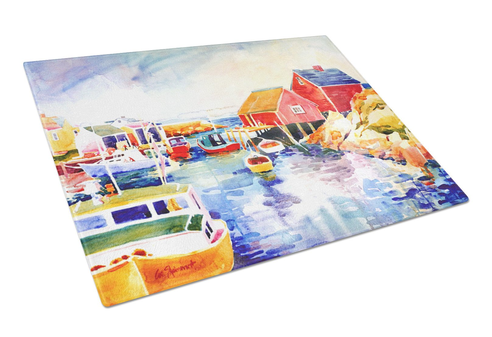 Boats at Harbour with a view Glass Cutting Board Large - the-store.com