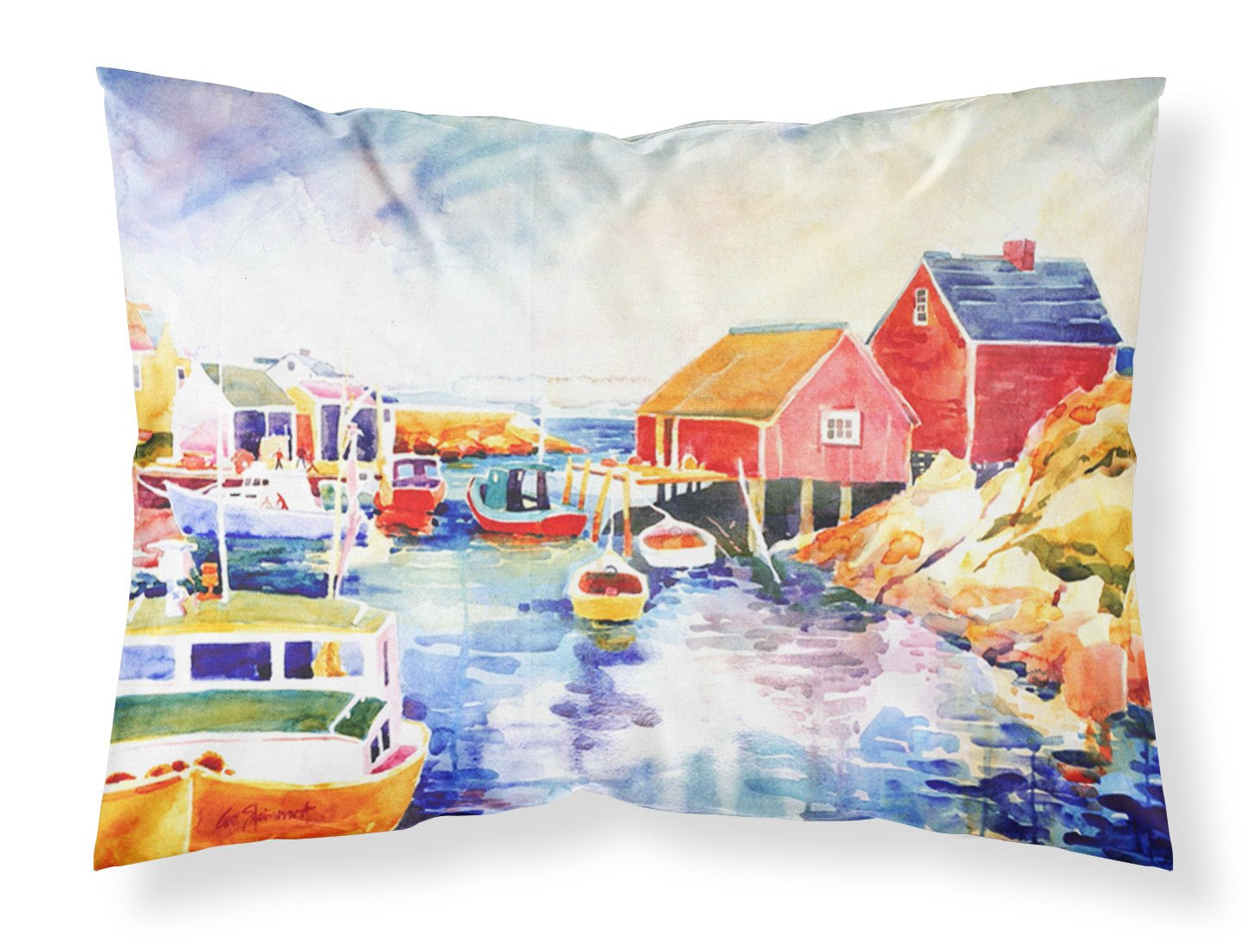 Boats at Harbour with a view Moisture wicking Fabric standard pillowcase by Caroline's Treasures