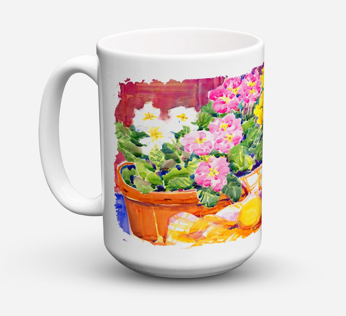 Flower - Primroses Dishwasher Safe Microwavable Ceramic Coffee Mug 15 ounce 6061CM15 by Caroline's Treasures