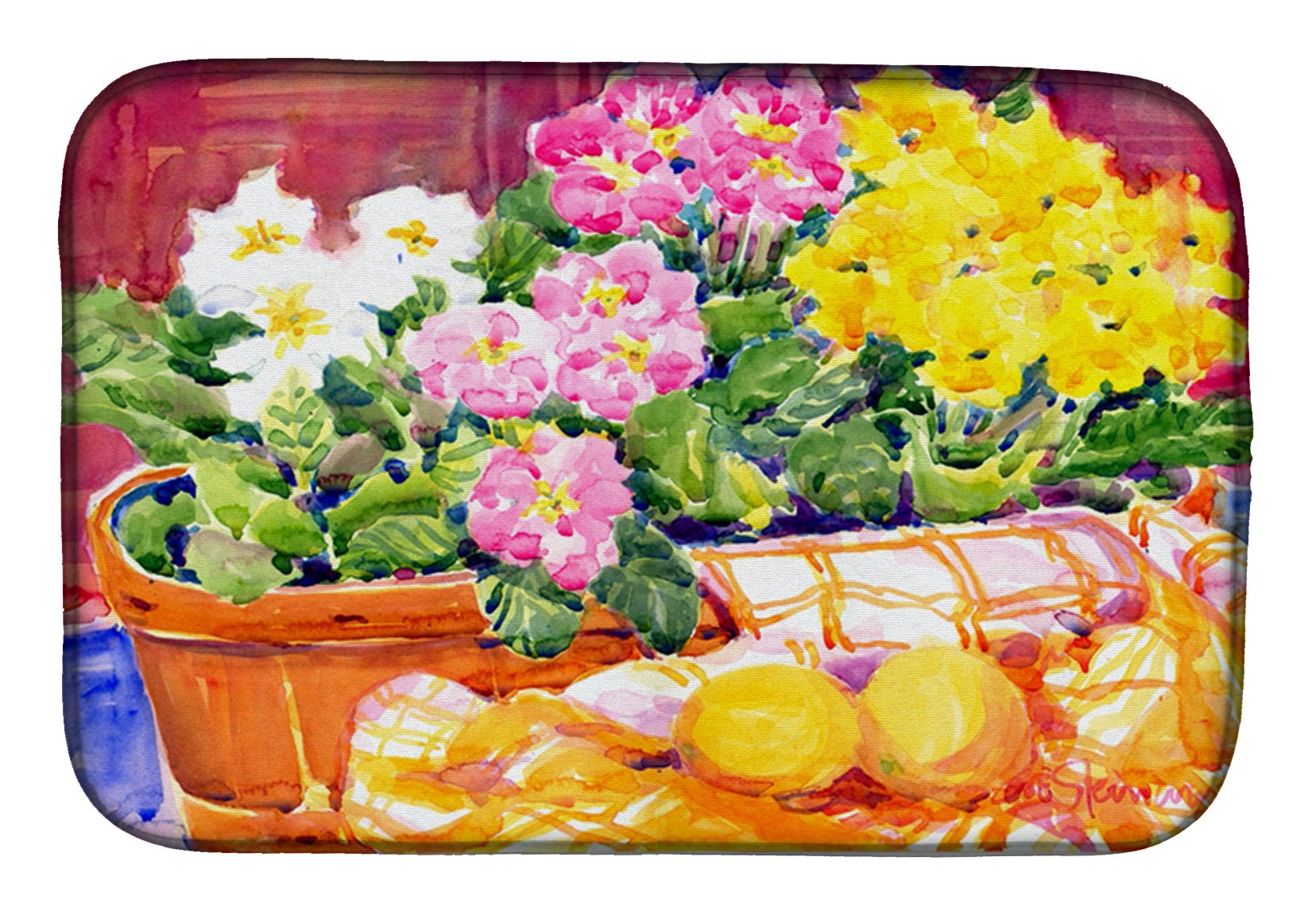 Flower - Primroses Dish Drying Mat 6061DDM by Caroline's Treasures
