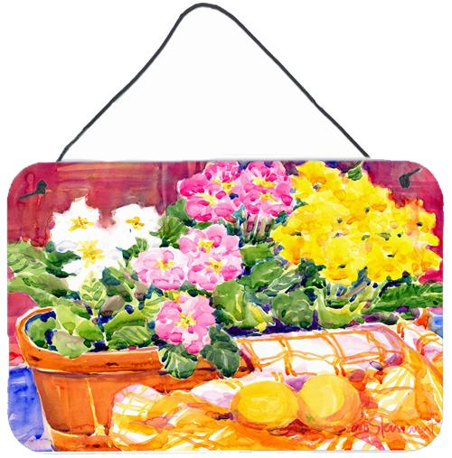 Flower - Primroses Indoor Aluminium Metal Wall or Door Hanging Prints by Caroline's Treasures