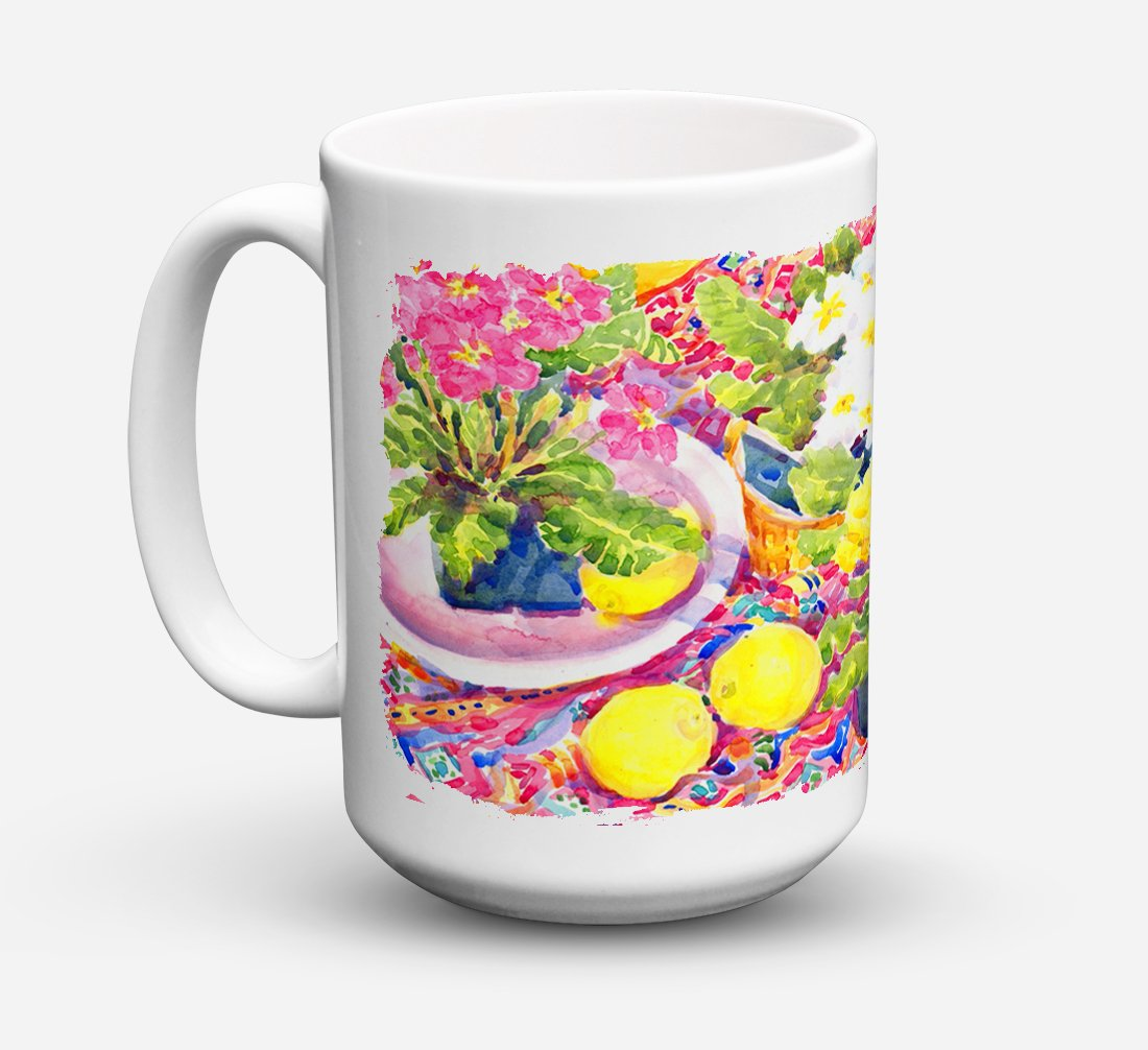 Flower - Primroses Dishwasher Safe Microwavable Ceramic Coffee Mug 15 ounce 6062CM15 by Caroline's Treasures