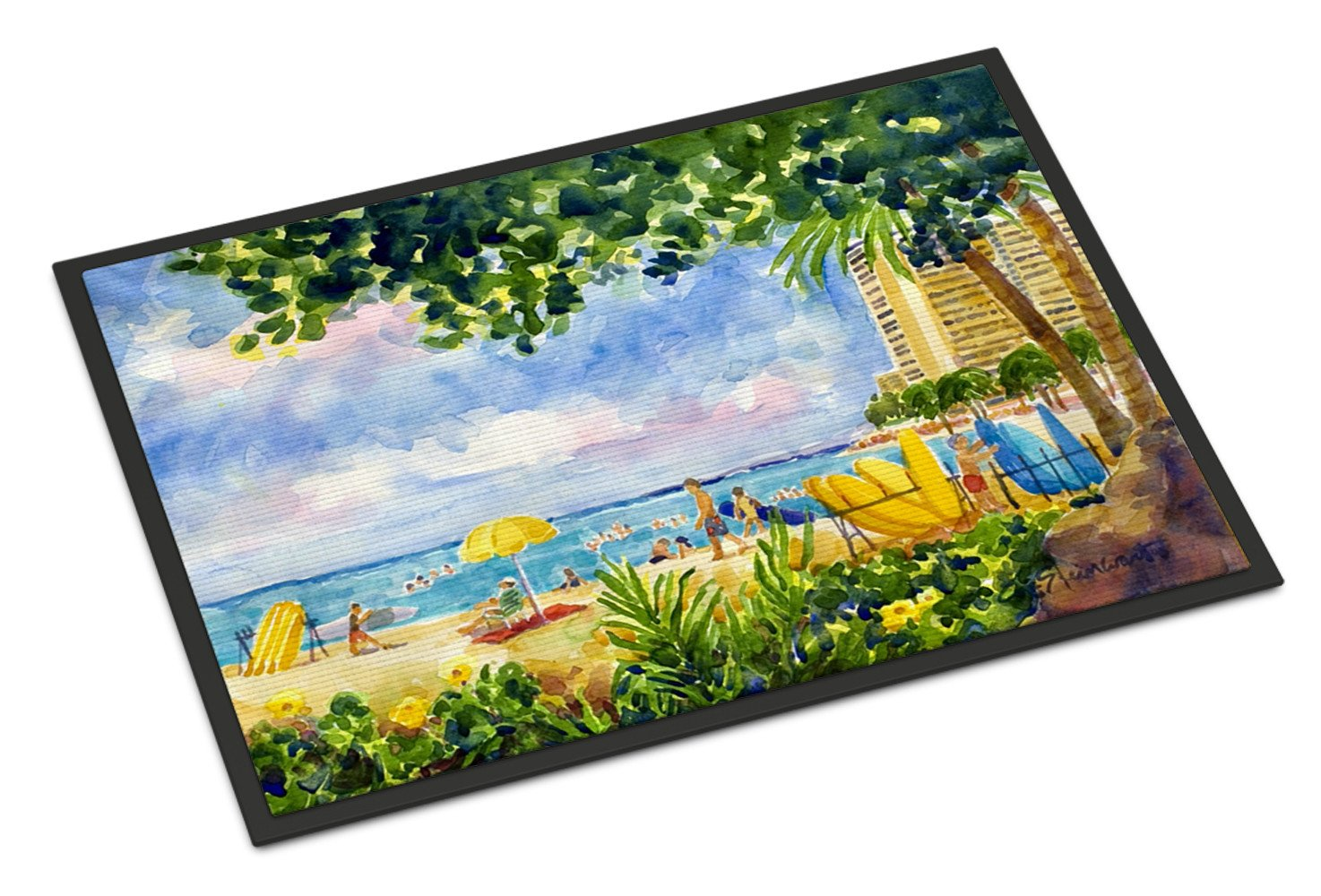 Buy this Beach Resort view from the condo  Indoor or Outdoor Mat 18x27 Doormat