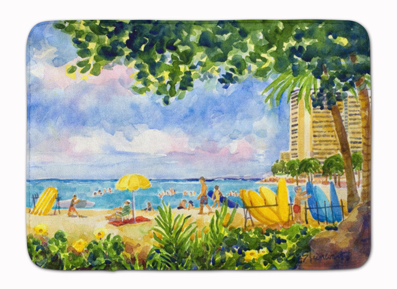 Buy this Beach Resort view from the condo Machine Washable Memory Foam Mat 6065RUG