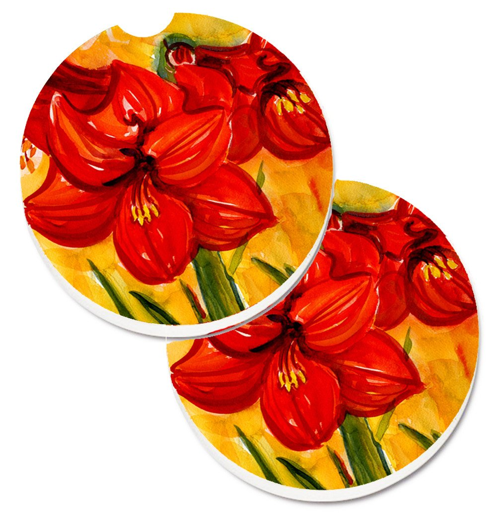 Buy this Flower - Amaryllis Set of 2 Cup Holder Car Coasters 6067CARC