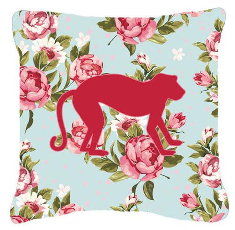 Buy this Monkey Shabby Chic Blue Roses   Canvas Fabric Decorative Pillow BB1128
