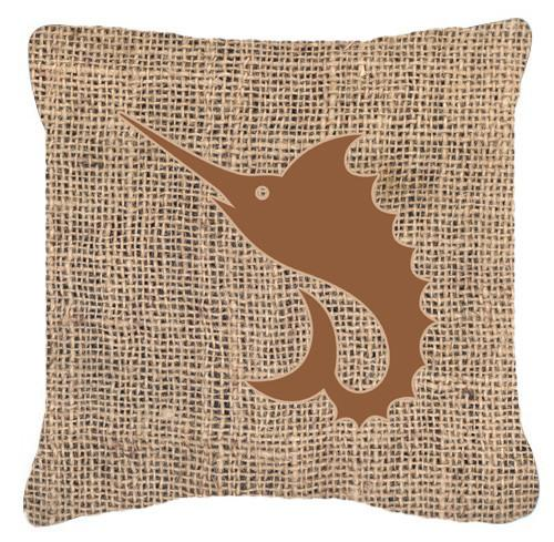 Buy this Fish - Sword Fish Burlap and Brown   Canvas Fabric Decorative Pillow BB1097