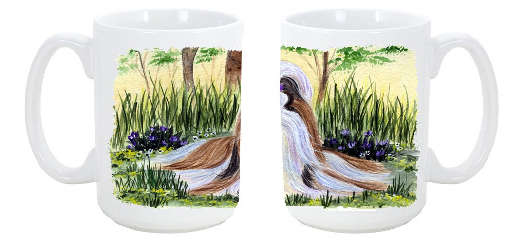 Buy this Shih Tzu Dishwasher Safe Microwavable Ceramic Coffee Mug 15 ounce SS8112CM15