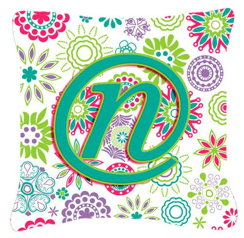 Letter N Flowers Pink Teal Green Initial Canvas Fabric Decorative Pillow CJ2011-NPW1414 by Caroline's Treasures