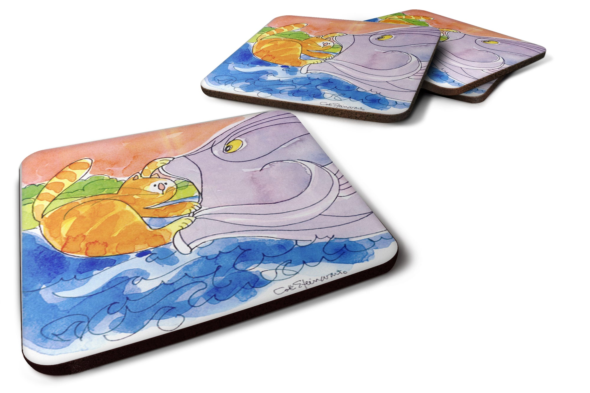 Set of 4 Cat and the Big Fish Foam Coasters by Caroline's Treasures