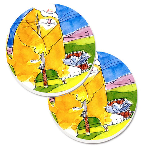 Buy this Big Cat golfing with a fishing pole  Set of 2 Cup Holder Car Coasters 6105CARC