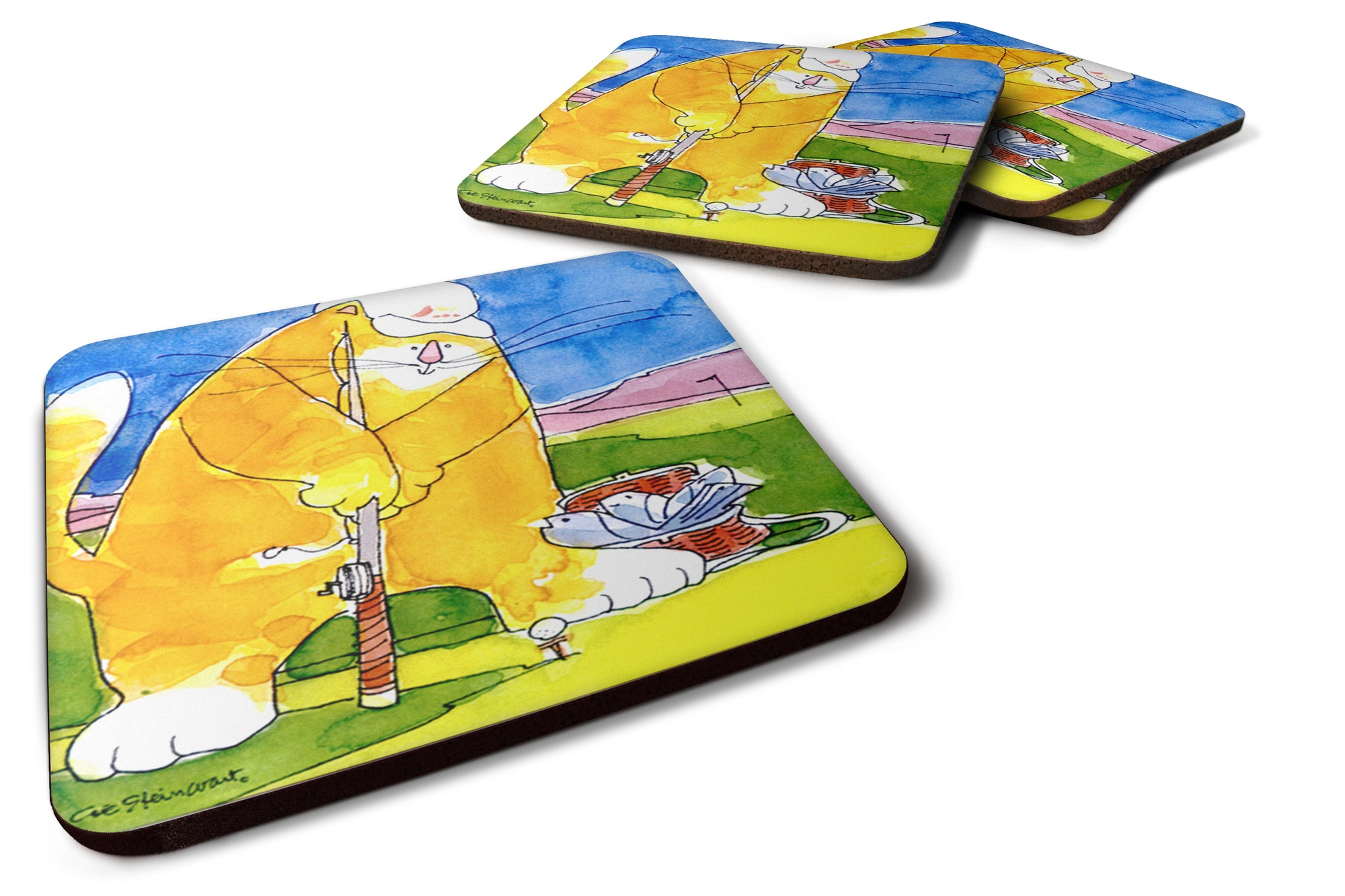 Set of 4 Big Cat golfing with a fishing pole  Foam Coasters by Caroline's Treasures