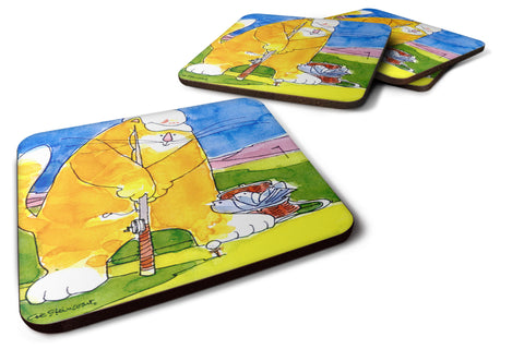 Buy this Set of 4 Big Cat golfing with a fishing pole  Foam Coasters