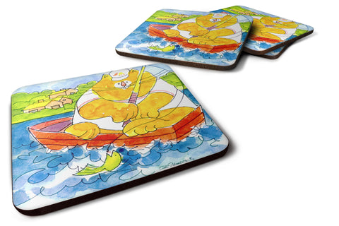 Buy this Set of 4 Big Orange Cat Fishing Foam Coasters