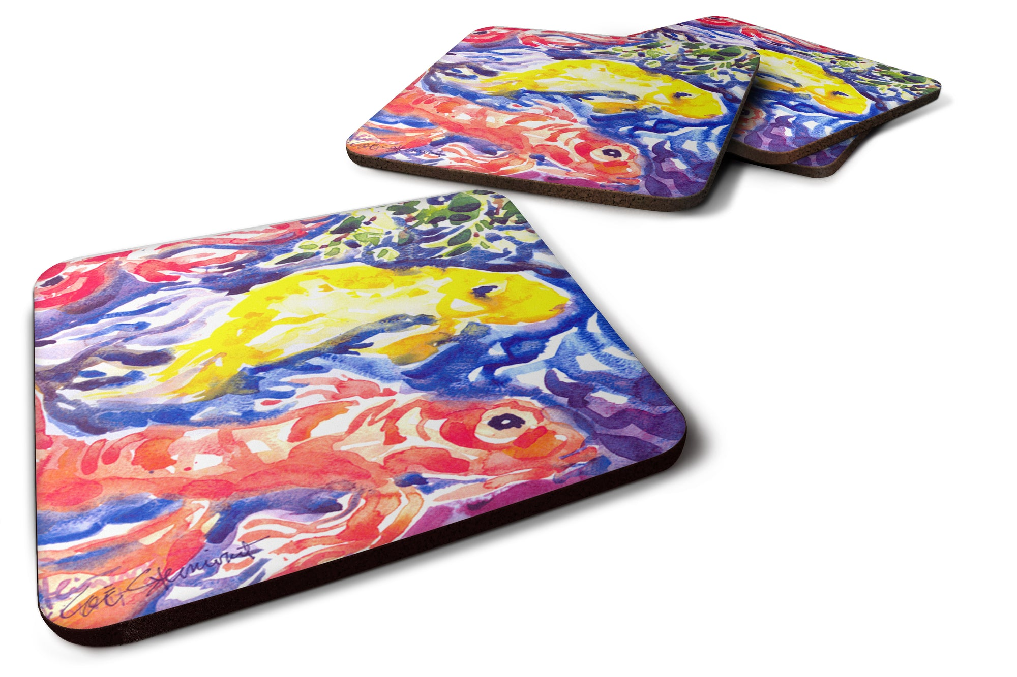 Buy this Set of 4 Fish - Koi in the pond Foam Coasters