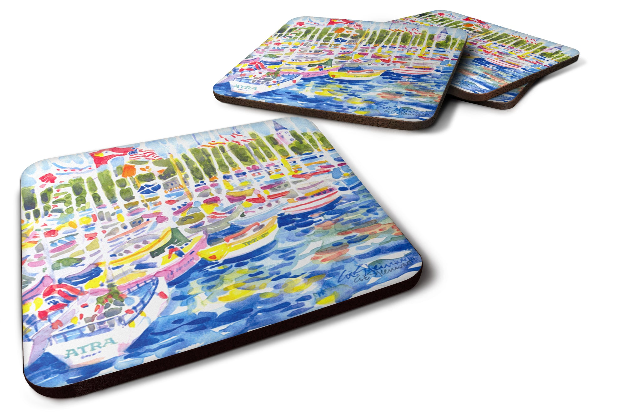 Buy this Set of 4 Bunch of boats at Harbour Foam Coasters