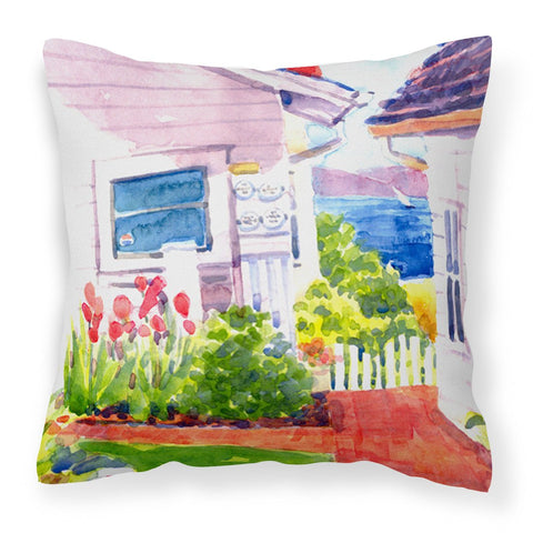 Beach View between the Houses Decorative   Canvas Fabric Pillow