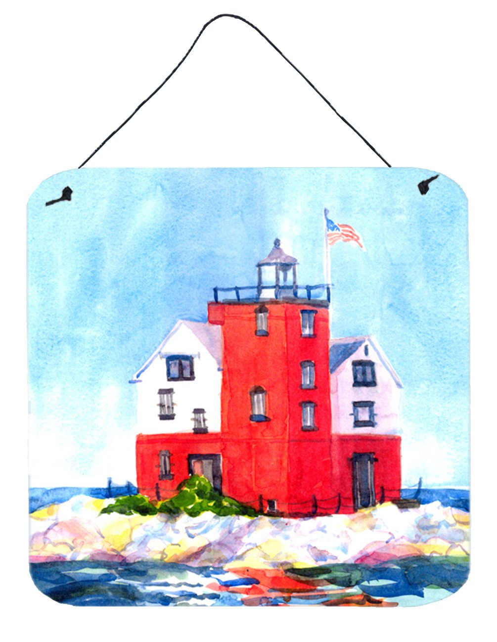 Lighthouse on the rocks Harbour Aluminium Metal Wall or Door Hanging Prints by Caroline's Treasures
