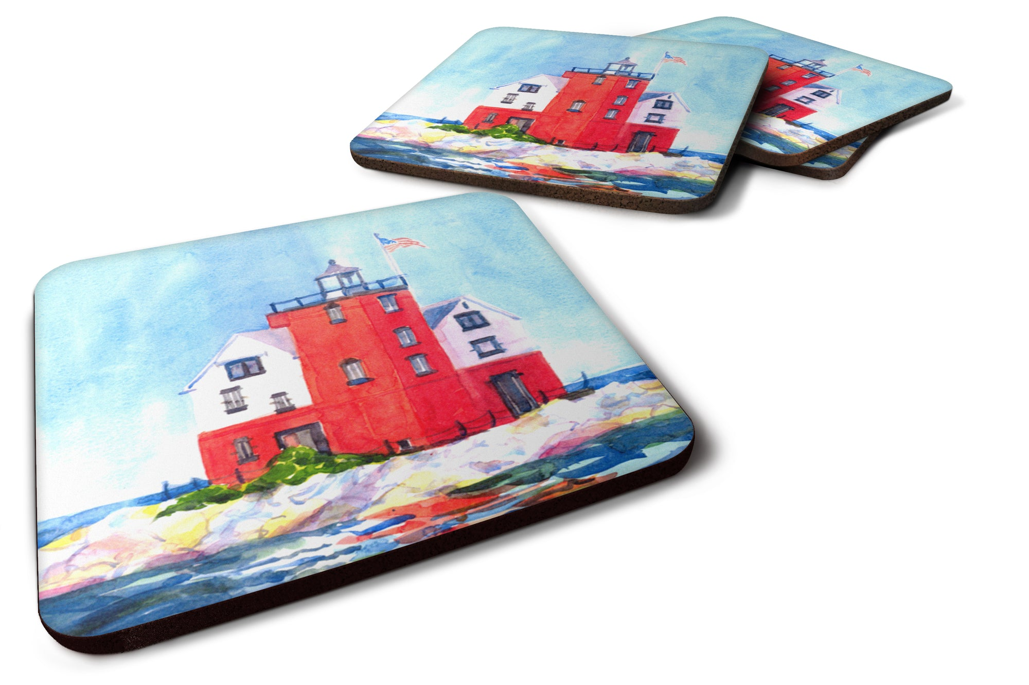 Set of 4 Lighthouse on the rocks Harbour Foam Coasters by Caroline's Treasures