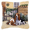 Basset Hound at the gate Canvas Decorative Pillow BDBA0312PW1414 - the-store.com