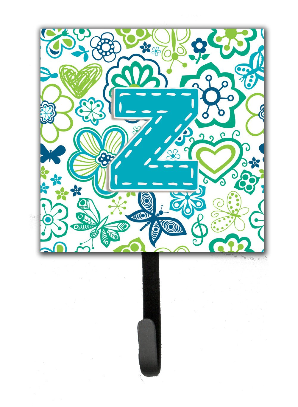 Letter Z Flowers and Butterflies Teal Blue Leash or Key Holder CJ2006-ZSH4 by Caroline's Treasures