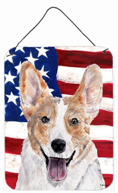 Cardigan Corgi with American Flag USA Wall or Door Hanging Prints SC9624DS1216 by Caroline's Treasures