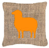 Sheep Burlap and Orange   Canvas Fabric Decorative Pillow BB1126 by Caroline's Treasures