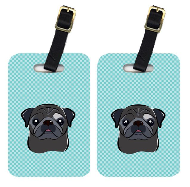Pair of Checkerboard Blue Black Pug Luggage Tags BB1201BT by Caroline's Treasures