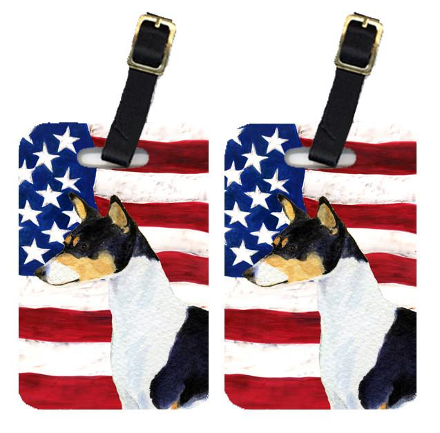 Buy this Pair of USA American Flag with Basenji Luggage Tags SS4041BT