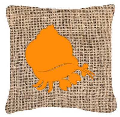 Buy this Hermit Crab Burlap and Orange   Canvas Fabric Decorative Pillow BB1102