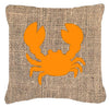 Crab Burlap and Orange   Canvas Fabric Decorative Pillow BB1104 - the-store.com