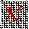 Monogram Initial N Houndstooth Black Decorative   Canvas Fabric Pillow CJ1035 - the-store.com