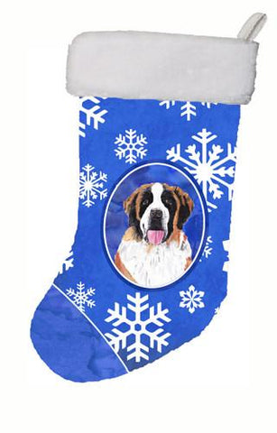 Buy this Saint Bernard Winter Snowflakes Christmas Stocking SC9382