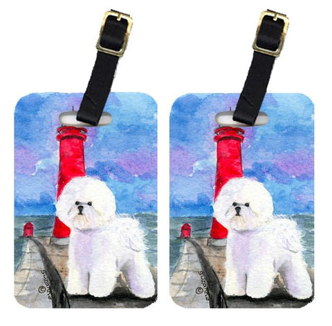 Buy this Lighthouse with Bichon Frise Luggage Tags Pair of 2